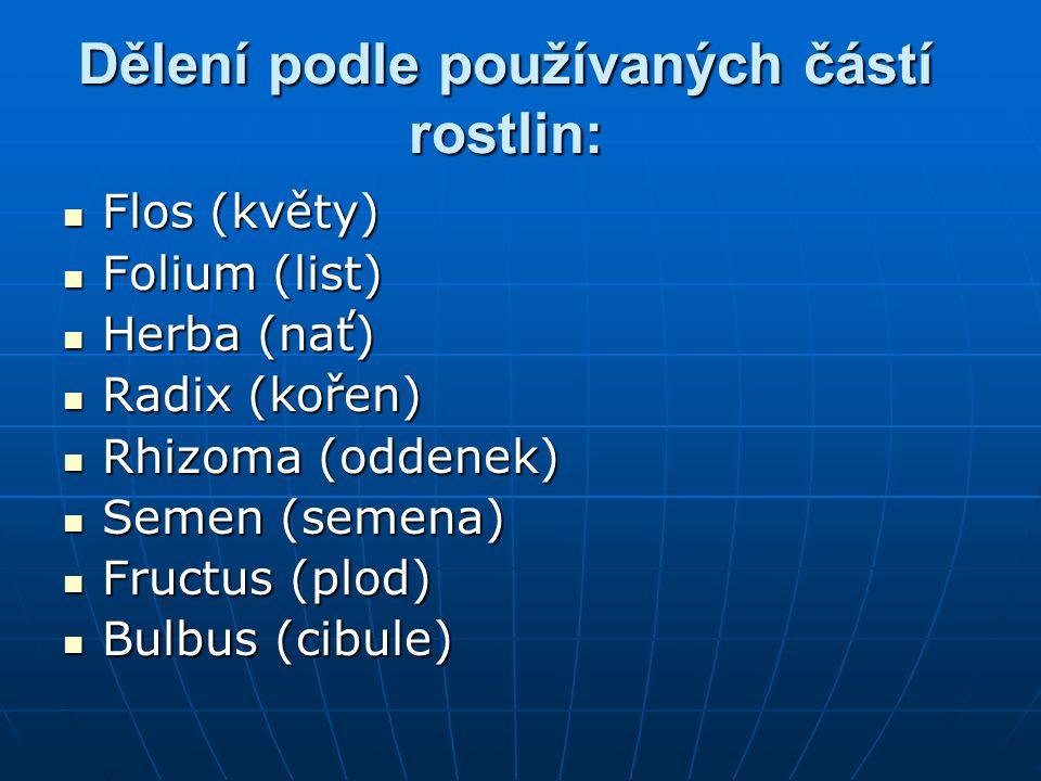 Dělení podle používaných částí rostlin:
