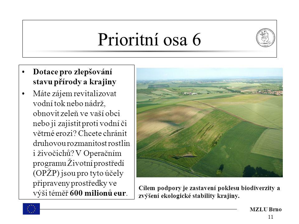 Prioritní osa 6 Dotace pro zlepšování stavu přírody a krajiny
