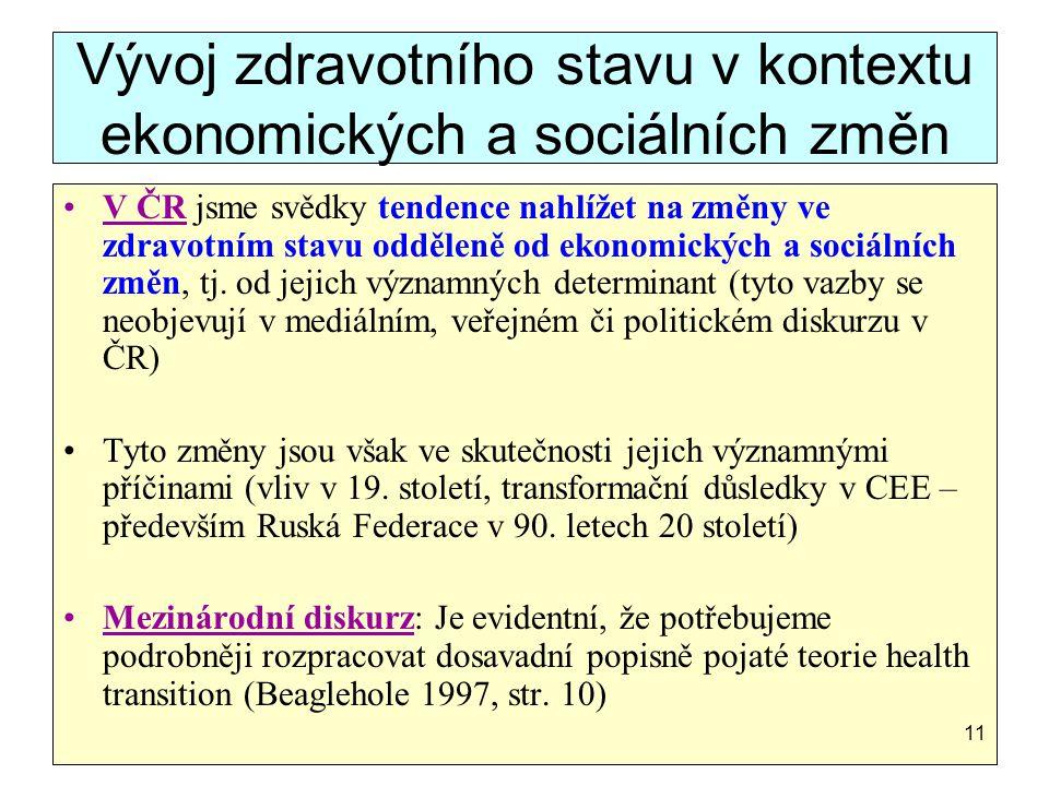 Vývoj zdravotního stavu v kontextu ekonomických a sociálních změn
