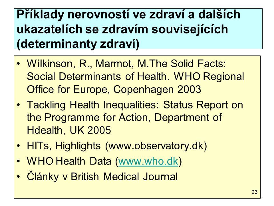 Příklady nerovností ve zdraví a dalších ukazatelích se zdravím souvisejících (determinanty zdraví)