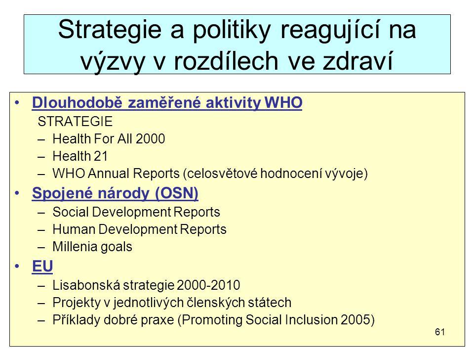 Strategie a politiky reagující na výzvy v rozdílech ve zdraví