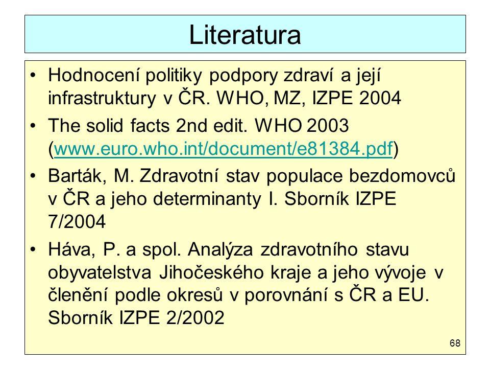 Literatura Hodnocení politiky podpory zdraví a její infrastruktury v ČR. WHO, MZ, IZPE 2004.