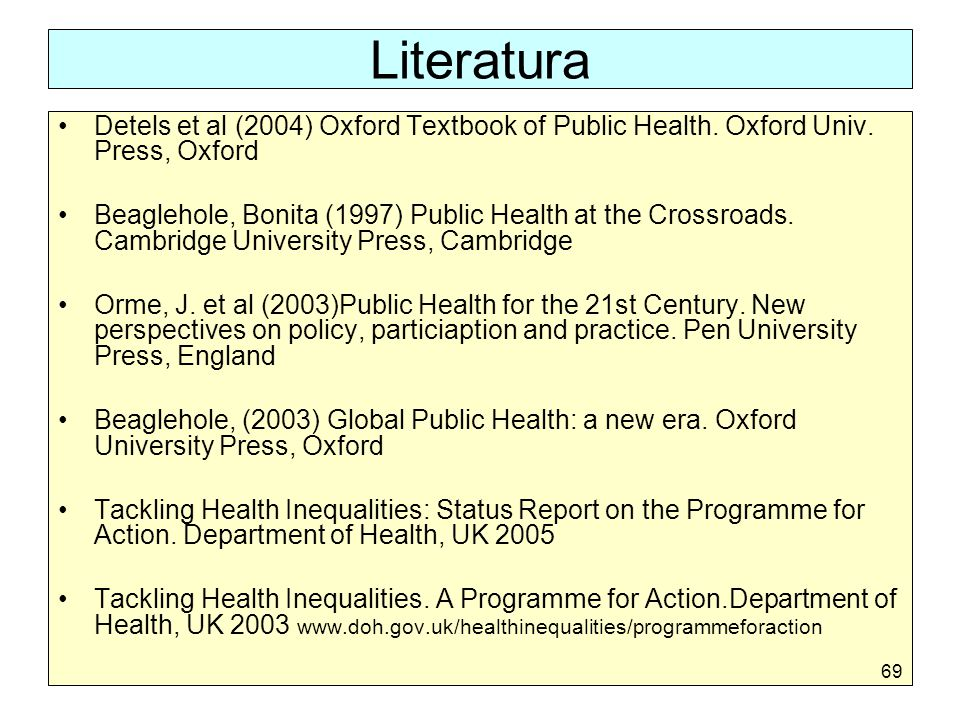 Literatura Detels et al (2004) Oxford Textbook of Public Health. Oxford Univ. Press, Oxford.