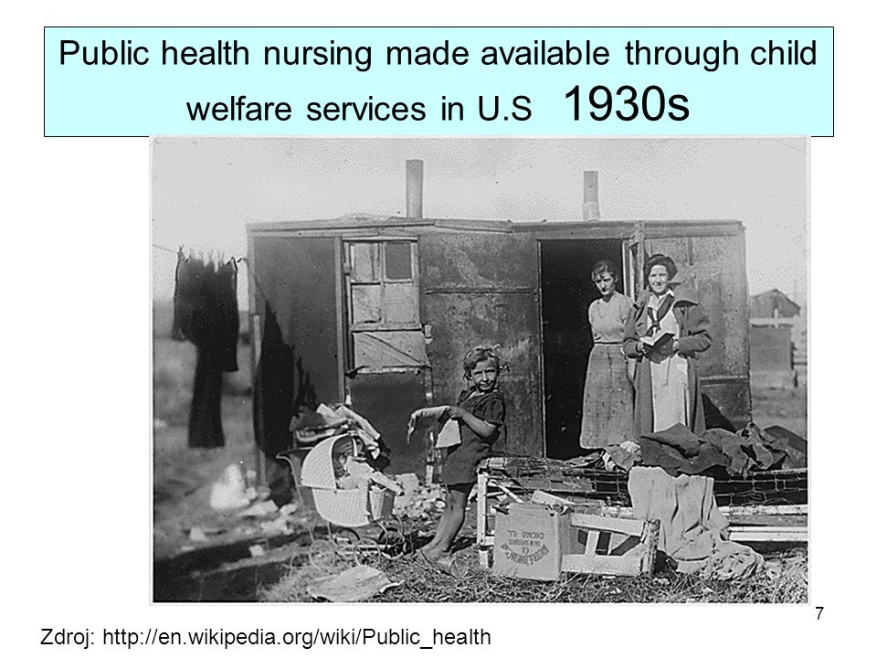 Public health nursing made available through child welfare services in U.S 1930s