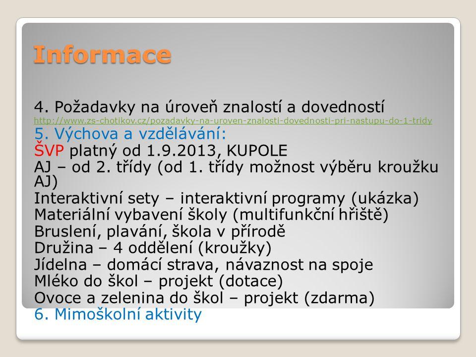 Informace 4. Požadavky na úroveň znalostí a dovedností