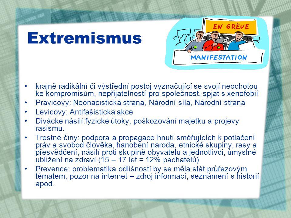 Extremismus krajně radikální či výstřední postoj vyznačující se svojí neochotou ke kompromisům, nepřijatelností pro společnost, spjat s xenofobií.