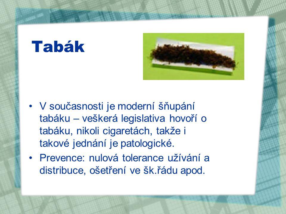 Tabák V současnosti je moderní šňupání tabáku – veškerá legislativa hovoří o tabáku, nikoli cigaretách, takže i takové jednání je patologické.