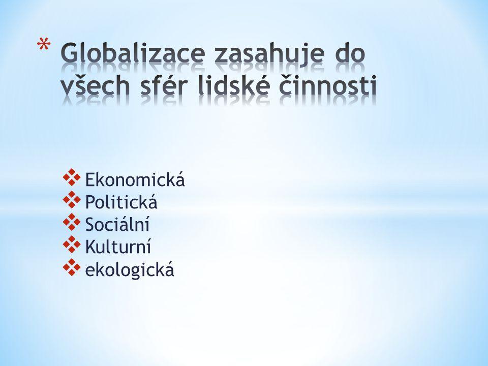 Globalizace zasahuje do všech sfér lidské činnosti