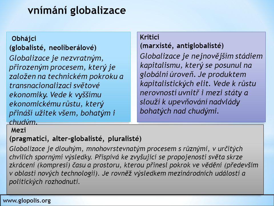 vnímání globalizace Obhájci