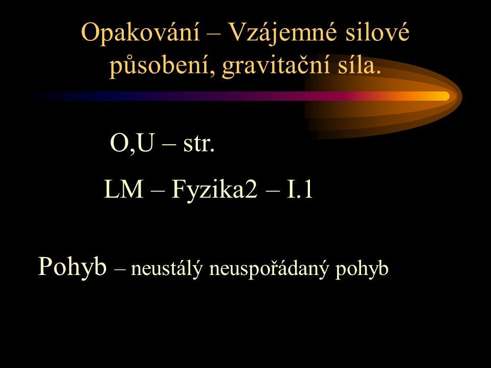 Opakování – Vzájemné silové působení, gravitační síla.
