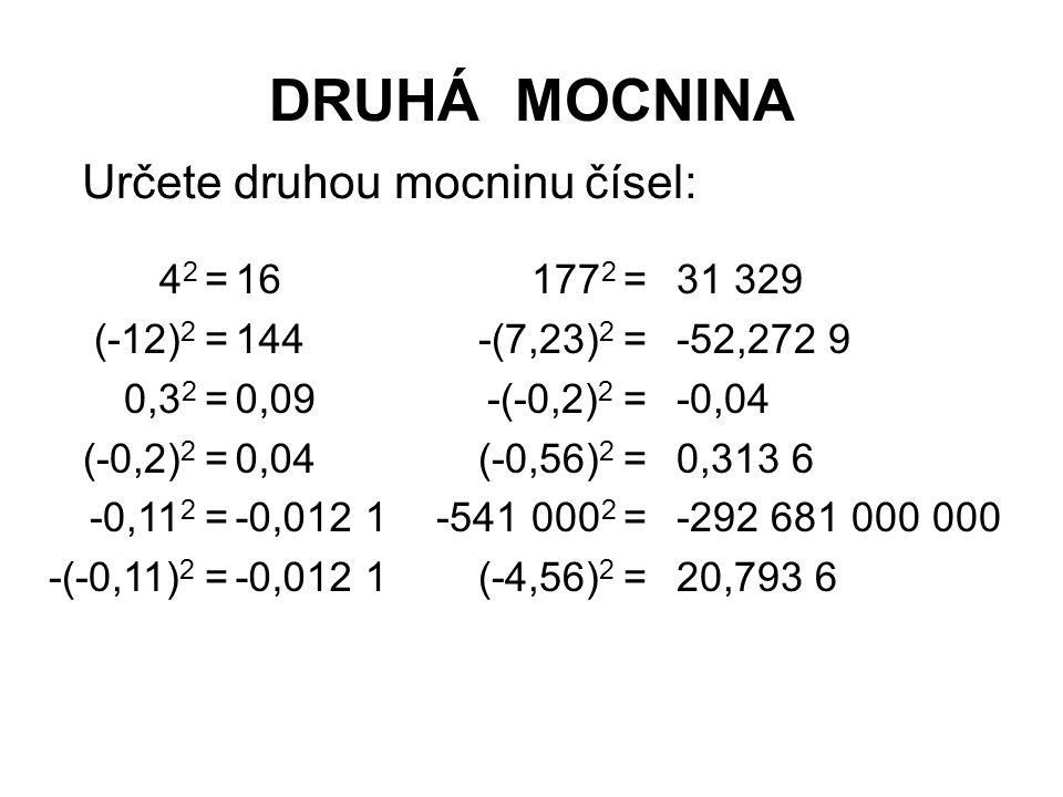 DRUHÁ MOCNINA Určete druhou mocninu čísel: 42 = (-12)2 = 0,32 =