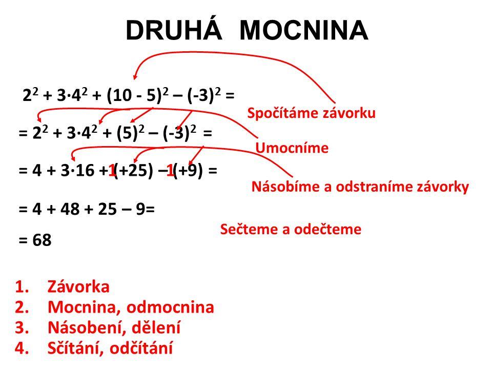 DRUHÁ MOCNINA 22 + 3·42 + (10 - 5)2 – (-3)2 = Spočítáme závorku