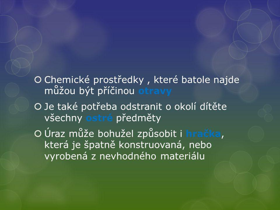 Chemické prostředky , které batole najde můžou být příčinou otravy