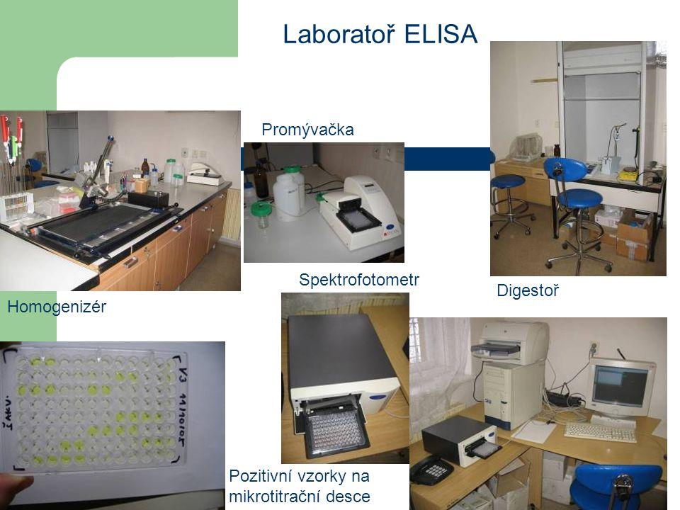 Laboratoř ELISA Promývačka Spektrofotometr Digestoř Homogenizér