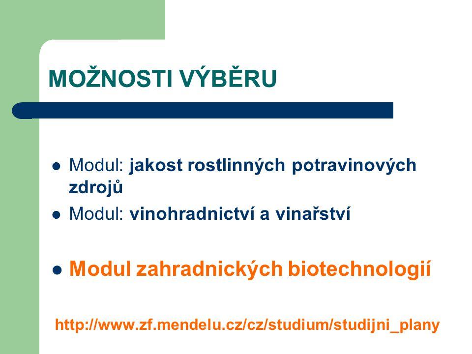 MOŽNOSTI VÝBĚRU Modul zahradnických biotechnologií