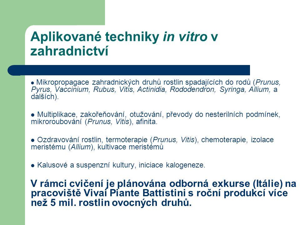 Aplikované techniky in vitro v zahradnictví