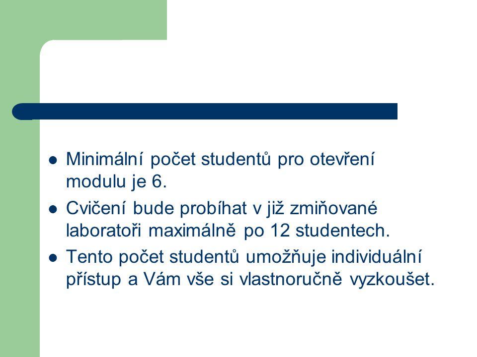Minimální počet studentů pro otevření modulu je 6.