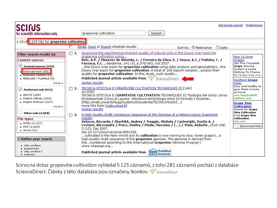 Scirus na dotaz grapevine cultivation vyhledal 5 125 záznamů, z toho 281 záznamů pochází z databáze ScienceDirect.