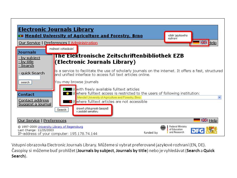 Vstupní obrazovka Electronic Journals Library