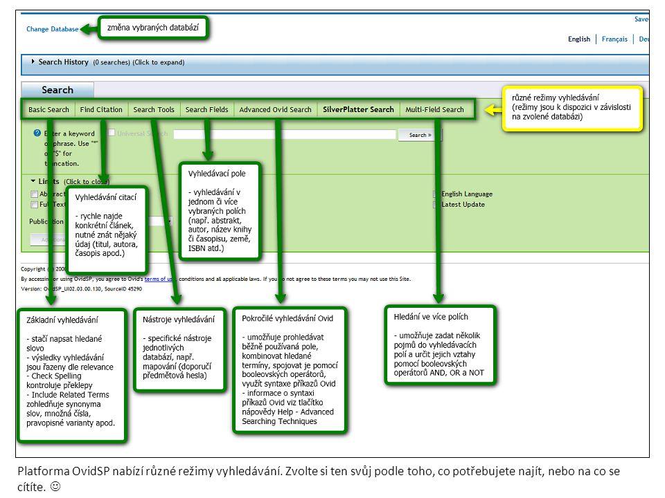 Platforma OvidSP nabízí různé režimy vyhledávání