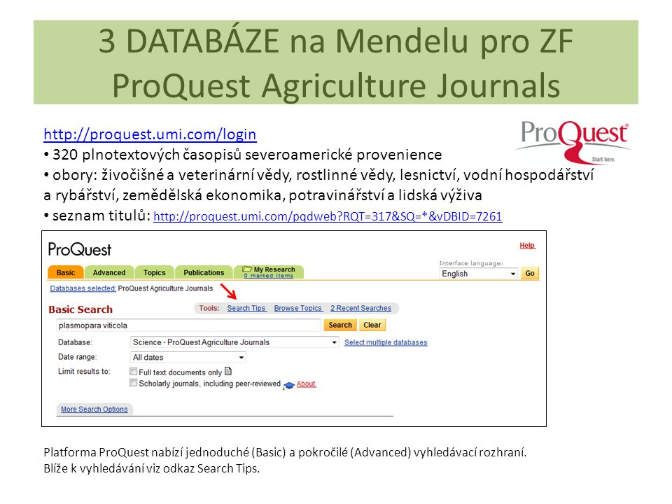 3 DATABÁZE na Mendelu pro ZF ProQuest Agriculture Journals