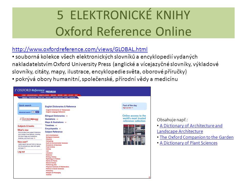 5 ELEKTRONICKÉ KNIHY Oxford Reference Online