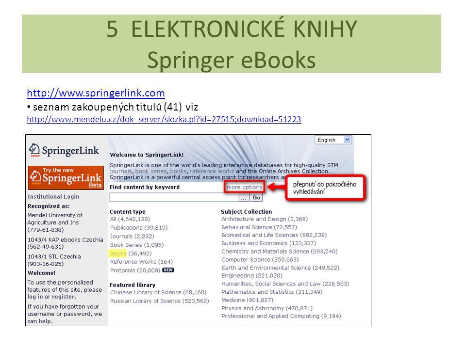5 ELEKTRONICKÉ KNIHY Springer eBooks