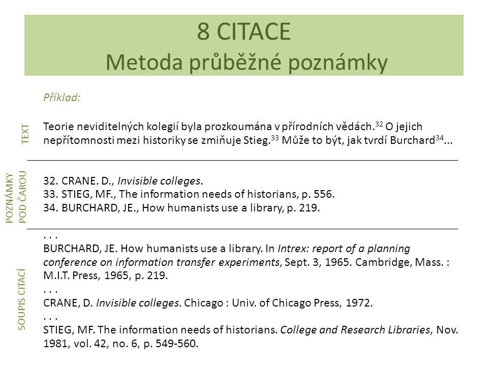 8 CITACE Metoda průběžné poznámky
