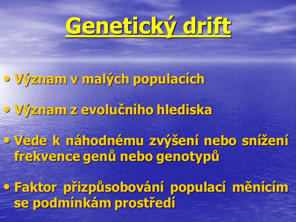 Genetický drift Význam v malých populacích