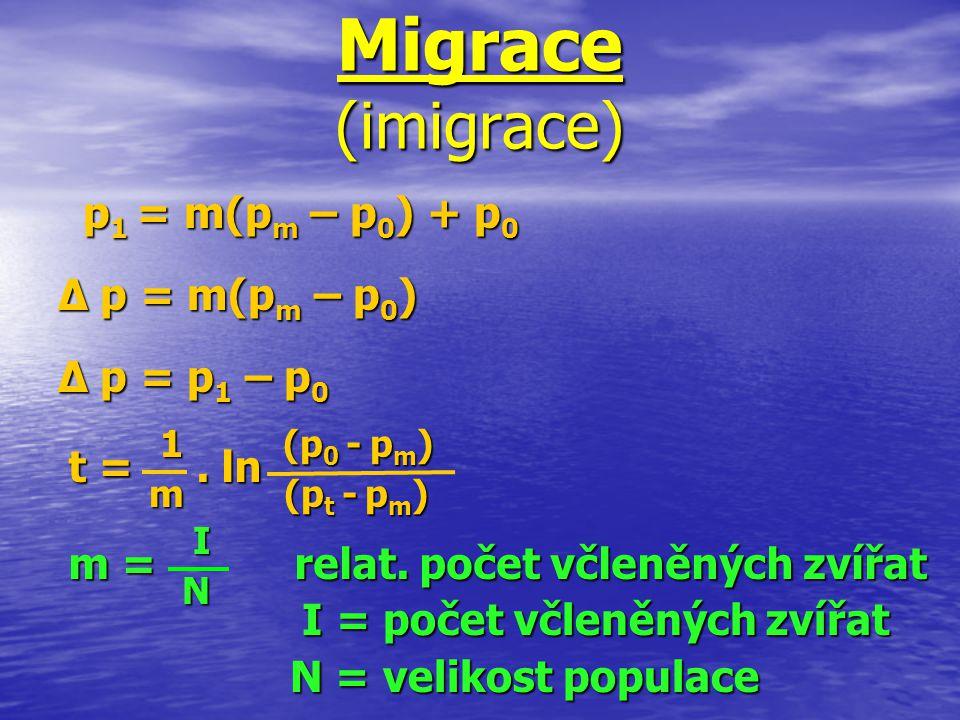 Migrace (imigrace) p1 = m(pm – p0) + p0 ∆ p = m(pm – p0) ∆ p = p1 – p0