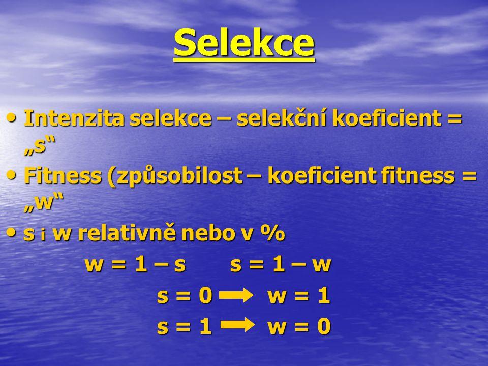 """Selekce Intenzita selekce – selekční koeficient = """"s"""