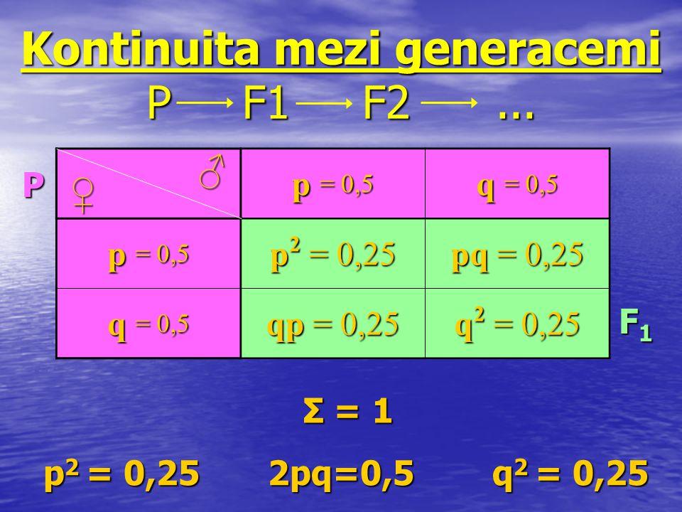 Kontinuita mezi generacemi P F1 F2 ...