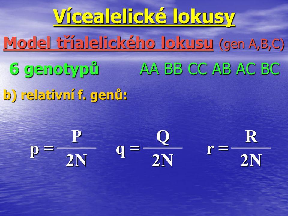 6 genotypů AA BB CC AB AC BC