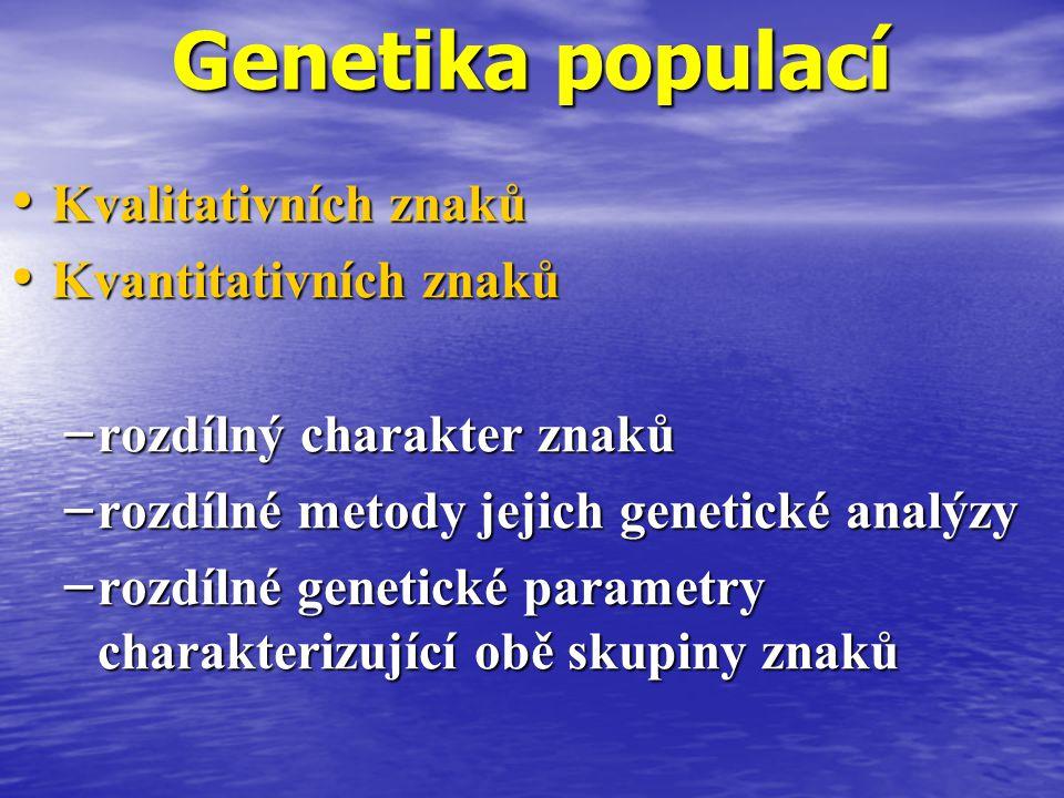 Genetika populací Kvalitativních znaků Kvantitativních znaků