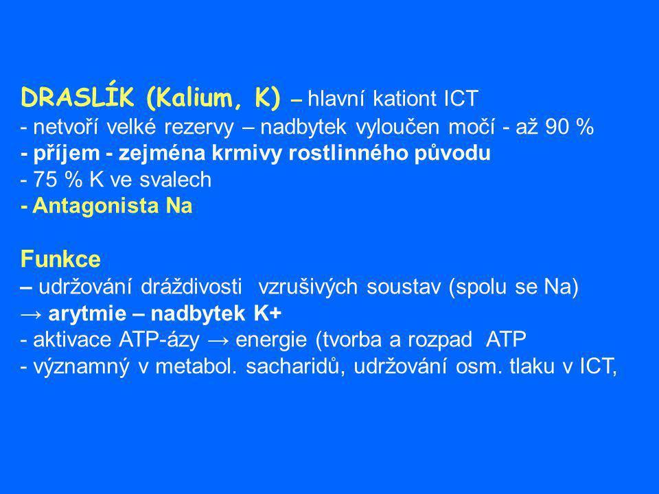 DRASLÍK (Kalium, K) – hlavní kationt ICT