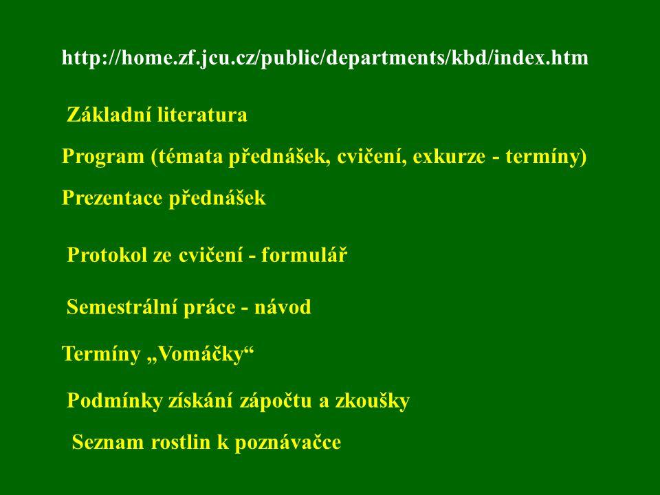 http://home.zf.jcu.cz/public/departments/kbd/index.htm Základní literatura. Program (témata přednášek, cvičení, exkurze - termíny)