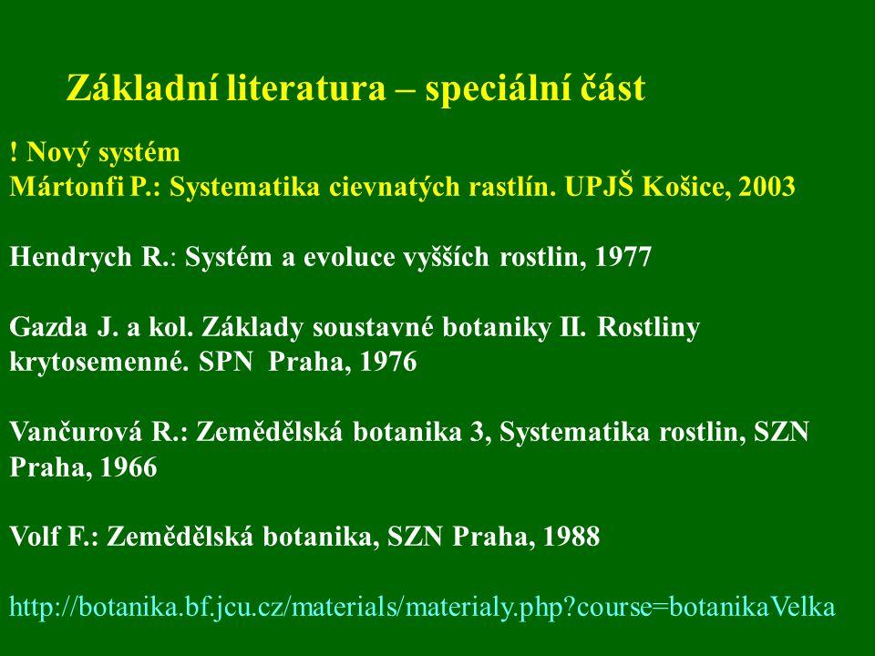 Základní literatura – speciální část