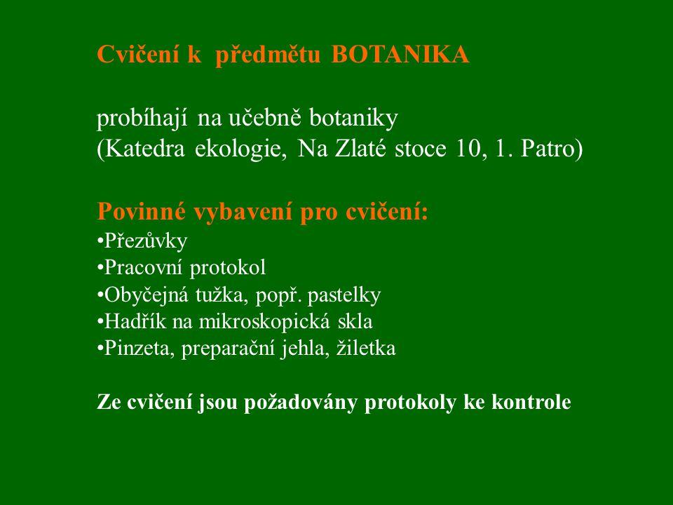 Cvičení k předmětu BOTANIKA probíhají na učebně botaniky