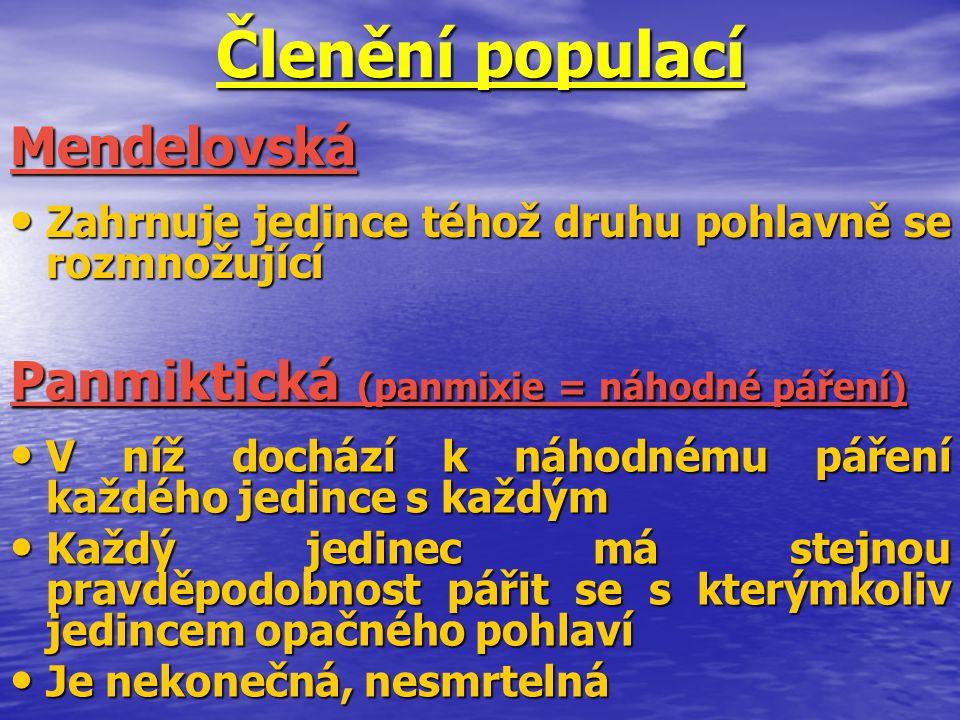 Členění populací Mendelovská Panmiktická (panmixie = náhodné páření)