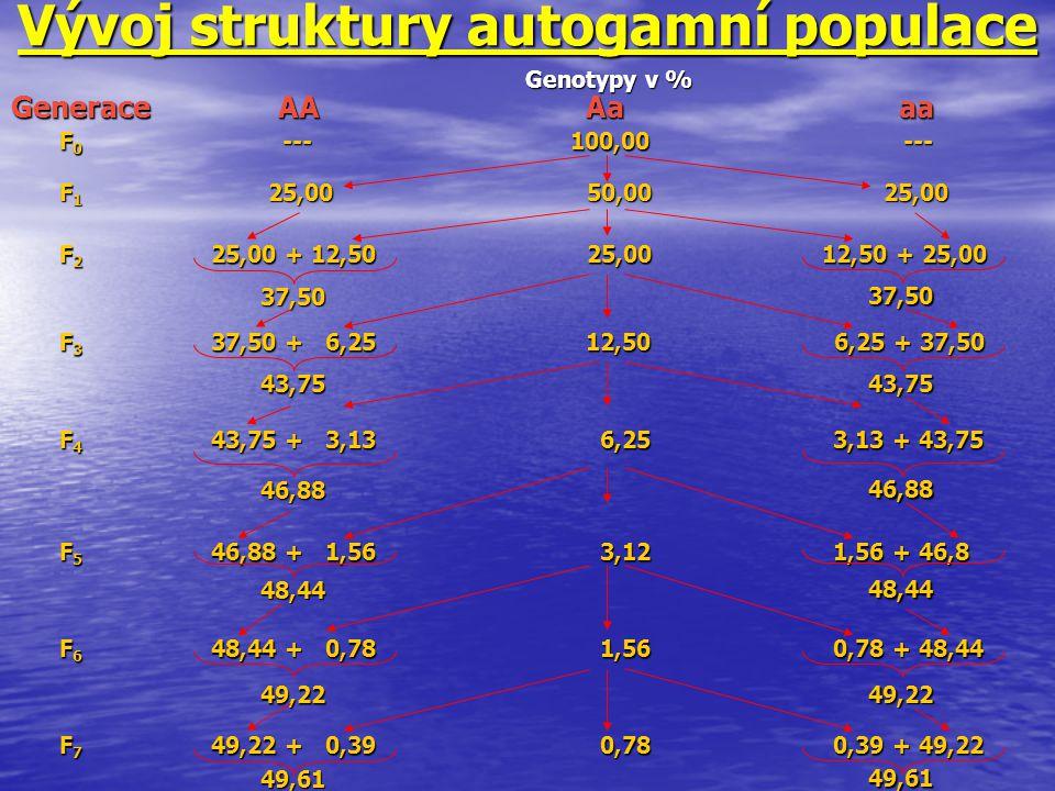Vývoj struktury autogamní populace