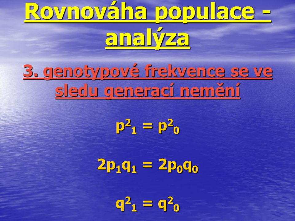Rovnováha populace - analýza
