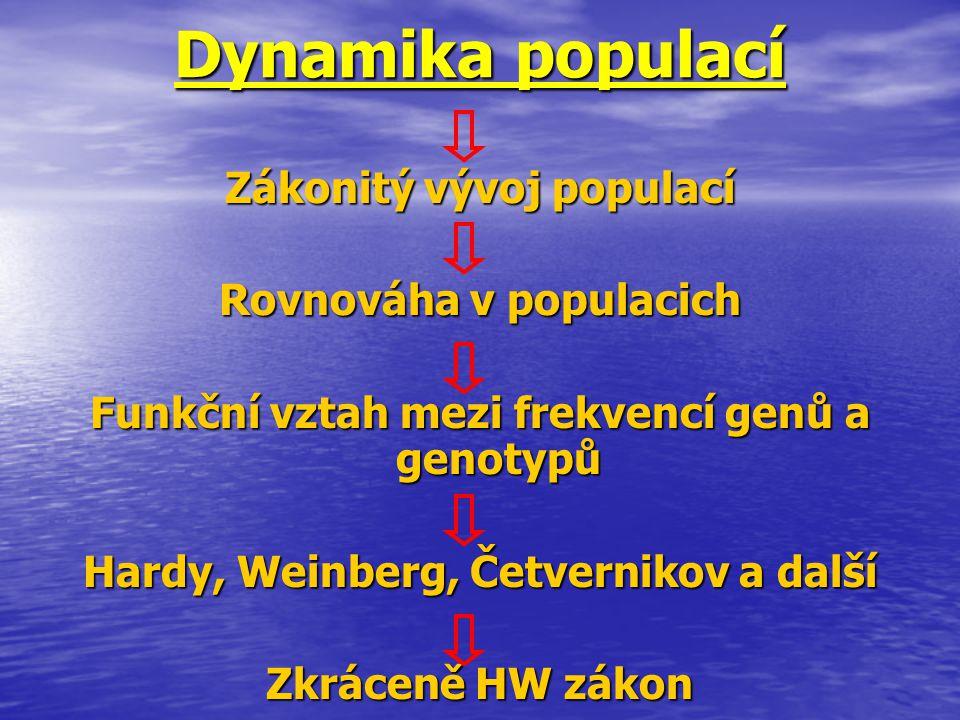 Dynamika populací Zákonitý vývoj populací Rovnováha v populacich