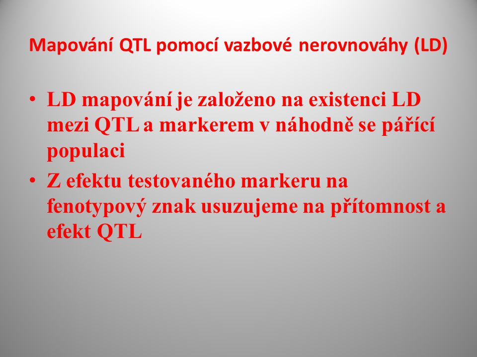 Mapování QTL pomocí vazbové nerovnováhy (LD)