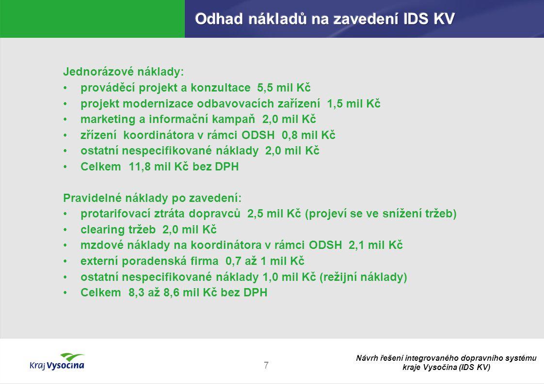 Odhad nákladů na zavedení IDS KV