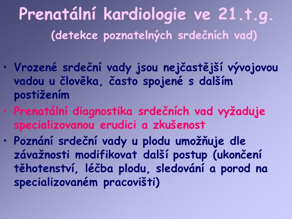 Prenatální kardiologie ve 21.t.g. (detekce poznatelných srdečních vad)