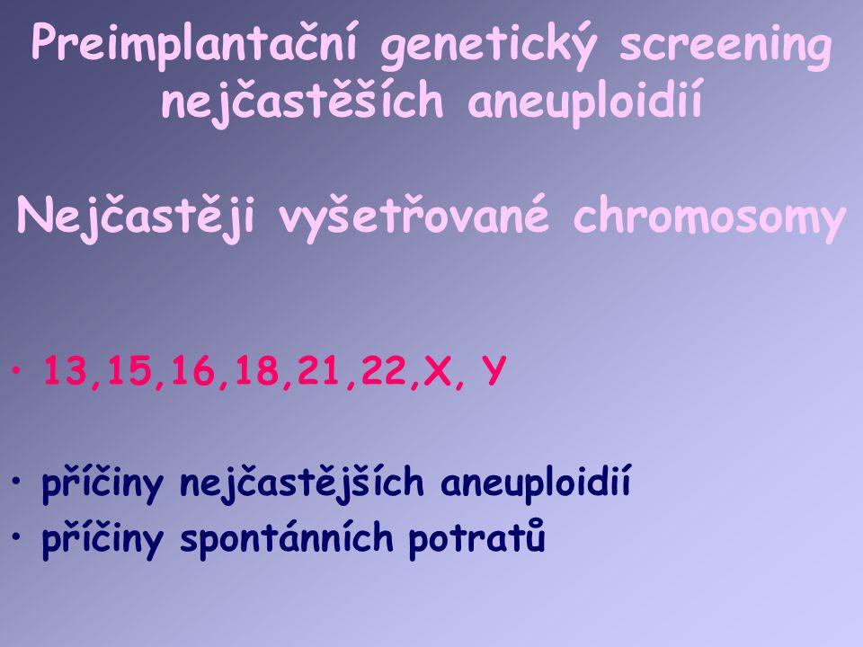 Preimplantační genetický screening nejčastěších aneuploidií Nejčastěji vyšetřované chromosomy