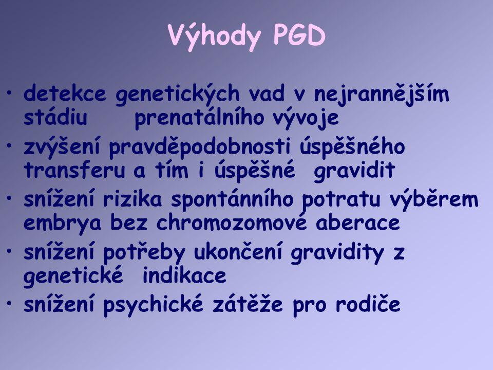 Výhody PGD detekce genetických vad v nejrannějším stádiu prenatálního vývoje.