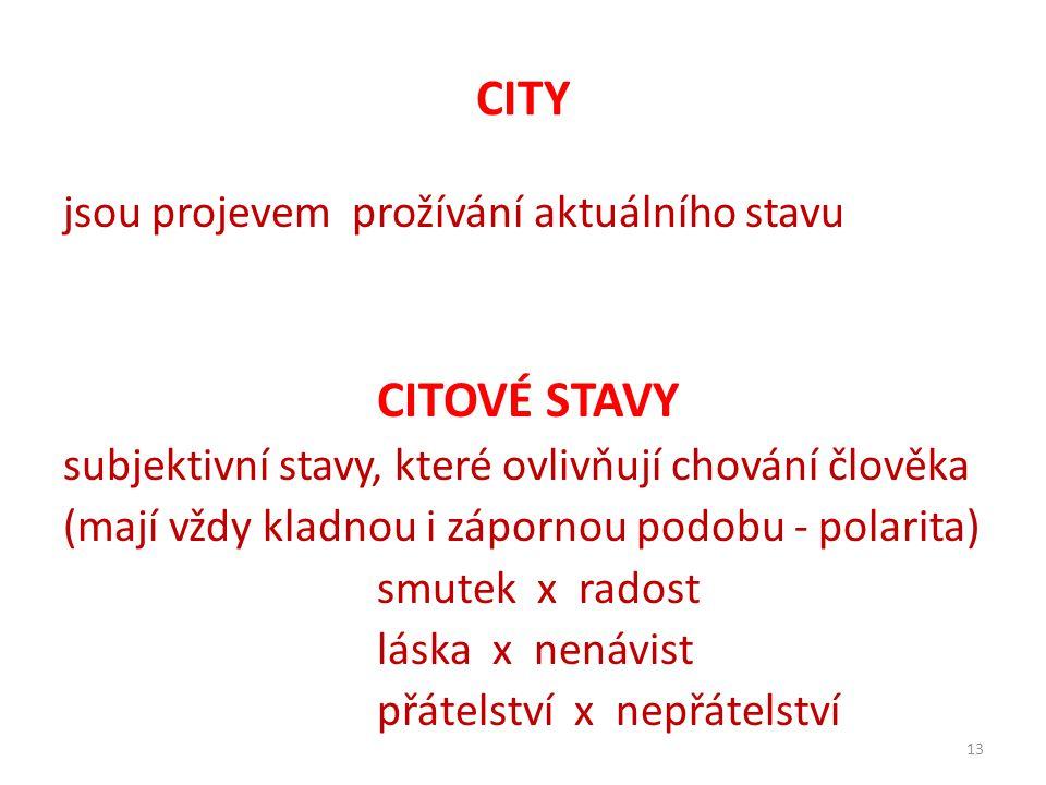 CITY CITOVÉ STAVY jsou projevem prožívání aktuálního stavu