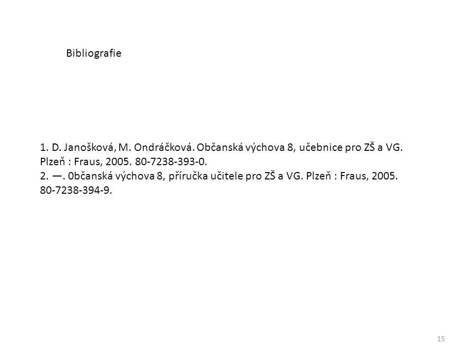 Bibliografie 1. D. Janošková, M. Ondráčková. Občanská výchova 8, učebnice pro ZŠ a VG. Plzeň : Fraus, 2005. 80-7238-393-0.
