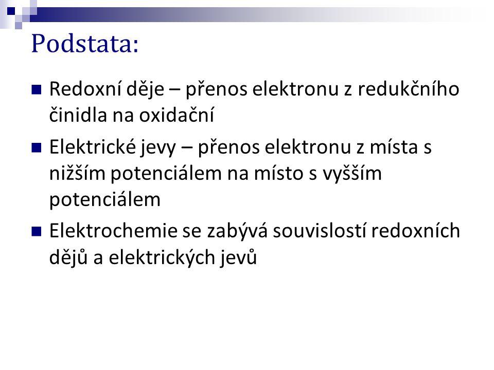 Podstata: Redoxní děje – přenos elektronu z redukčního činidla na oxidační.